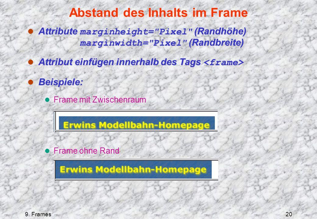 9. Frames20 Abstand des Inhalts im Frame Attribute marginheight=