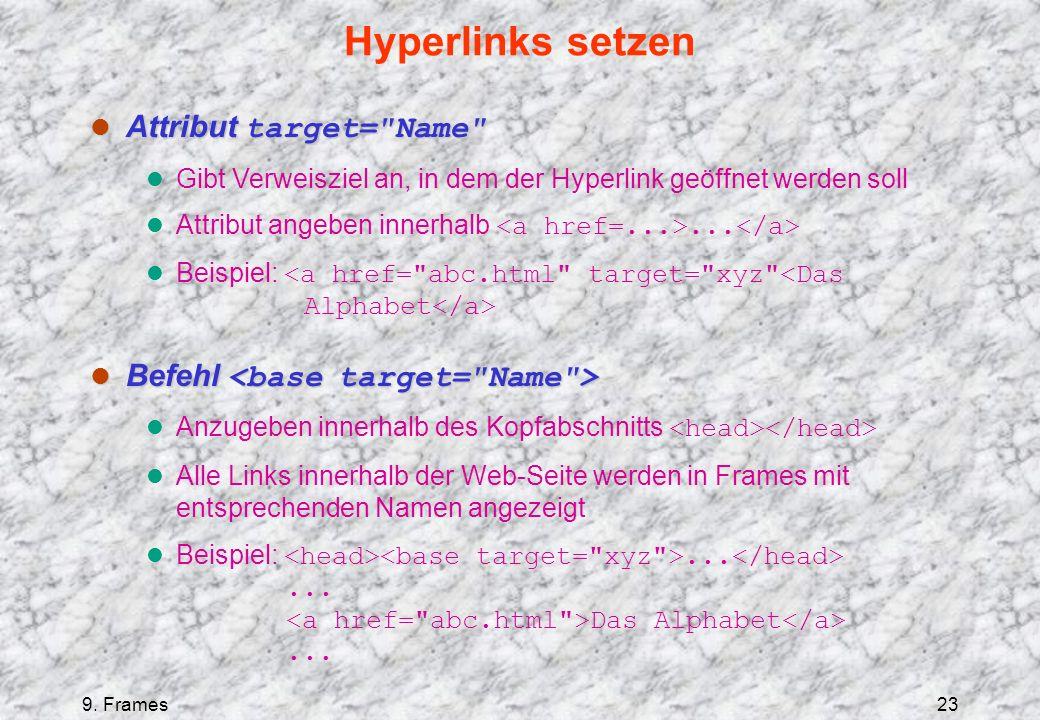 9. Frames23 Hyperlinks setzen Attribut target=