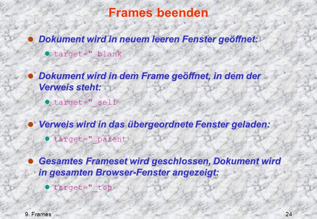 9. Frames24 Frames beenden l Dokument wird in neuem leeren Fenster geöffnet: l target=