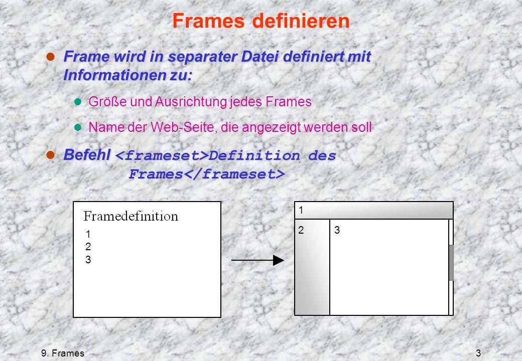 9. Frames3 Frames definieren l Frame wird in separater Datei definiert mit Informationen zu: l Größe und Ausrichtung jedes Frames l Name der Web-Seite