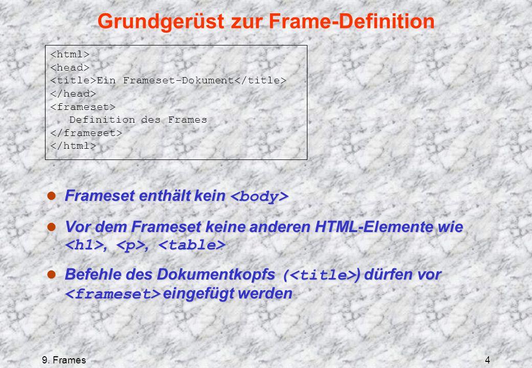9. Frames4 Grundgerüst zur Frame-Definition Frameset enthält kein Frameset enthält kein Vor dem Frameset keine anderen HTML-Elemente wie,, Vor dem Fra