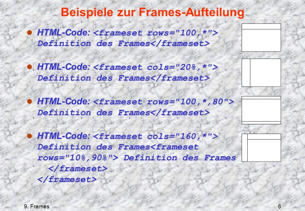 9. Frames6 Beispiele zur Frames-Aufteilung HTML-Code: Definition des Frames HTML-Code: Definition des Frames HTML-Code: Definition des Frames Definiti