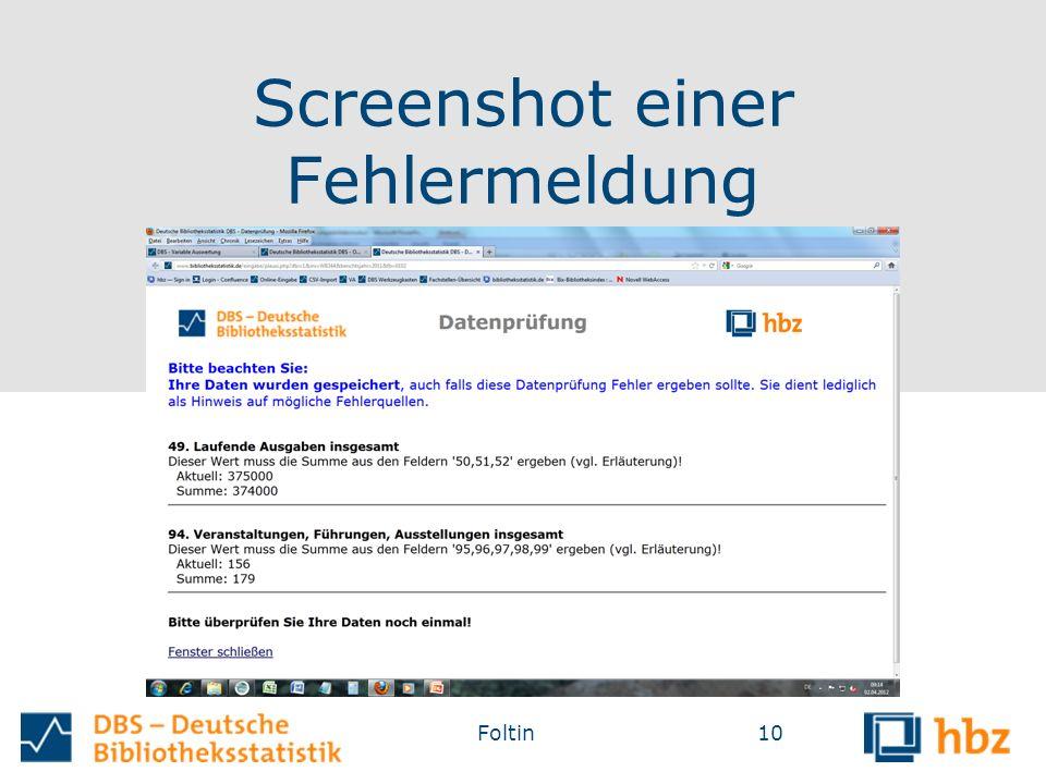 Screenshot einer Fehlermeldung 10Foltin