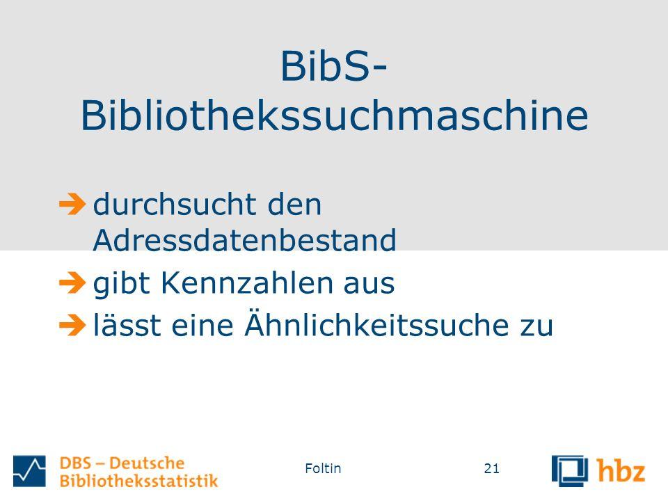 BibS- Bibliothekssuchmaschine  durchsucht den Adressdatenbestand  gibt Kennzahlen aus  lässt eine Ähnlichkeitssuche zu Foltin21