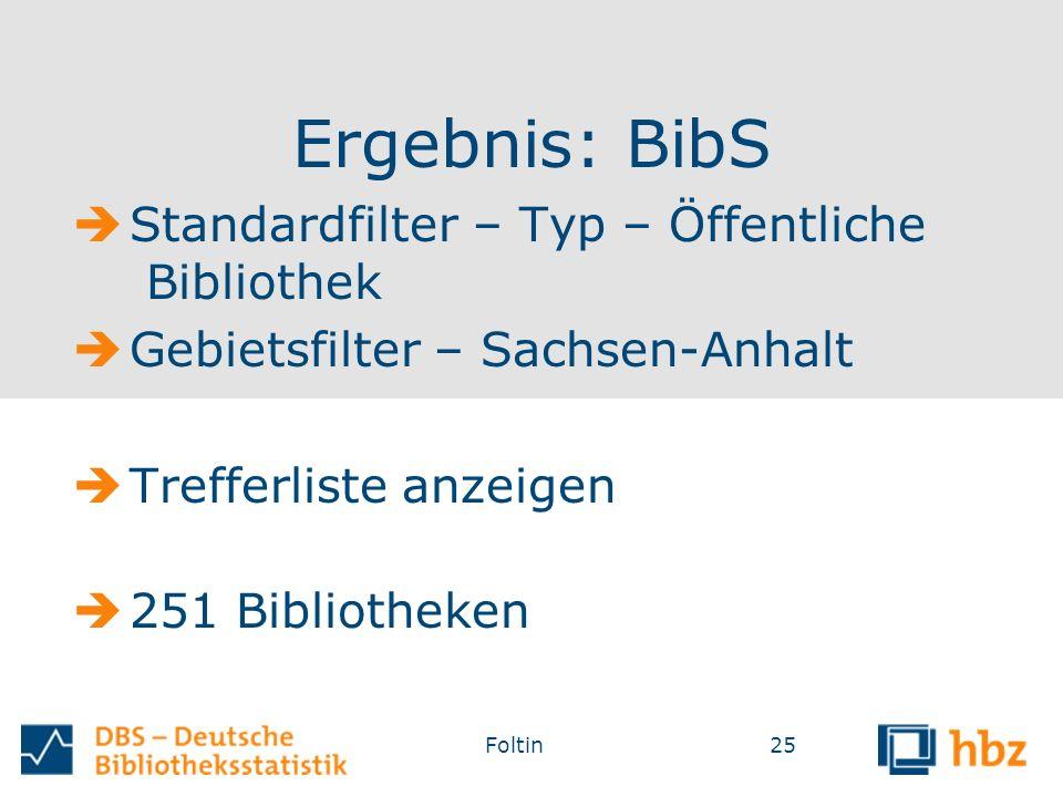Ergebnis: BibS  Standardfilter – Typ – Öffentliche Bibliothek  Gebietsfilter – Sachsen-Anhalt  Trefferliste anzeigen  251 Bibliotheken Foltin25