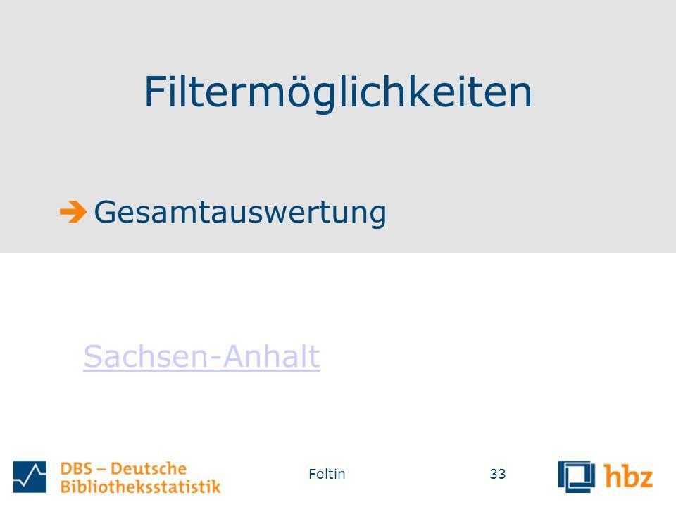 Filtermöglichkeiten 33Foltin  Gesamtauswertung Sachsen-Anhalt Sachsen-Anhalt