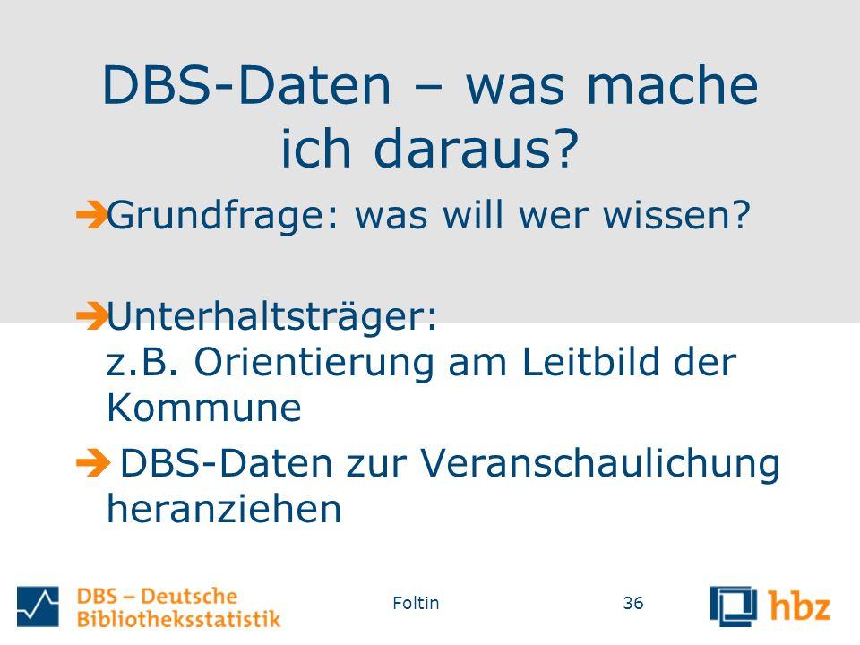 DBS-Daten – was mache ich daraus.  Grundfrage: was will wer wissen.