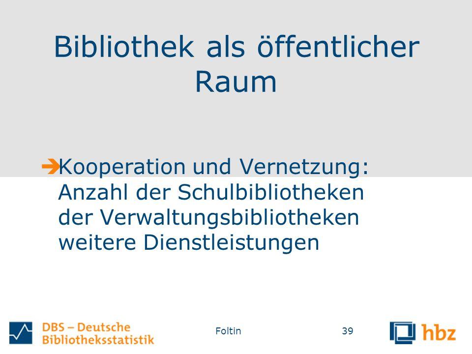Bibliothek als öffentlicher Raum  Kooperation und Vernetzung: Anzahl der Schulbibliotheken der Verwaltungsbibliotheken weitere Dienstleistungen Foltin39