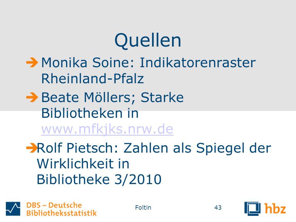 Quellen  Monika Soine: Indikatorenraster Rheinland-Pfalz  Beate Möllers; Starke Bibliotheken in www.mfkjks.nrw.dewww.mfkjks.nrw.de  Rolf Pietsch: Zahlen als Spiegel der Wirklichkeit in Bibliotheke 3/2010 43Foltin