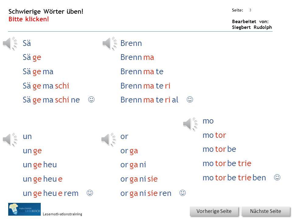 Übungsart: Seite: Bearbeitet von: Siegbert Rudolph Lesemotivationstraining 2 Schwierige Wörter üben! Bitte klicken! Nächste Seite Vorherige Seite Zu t