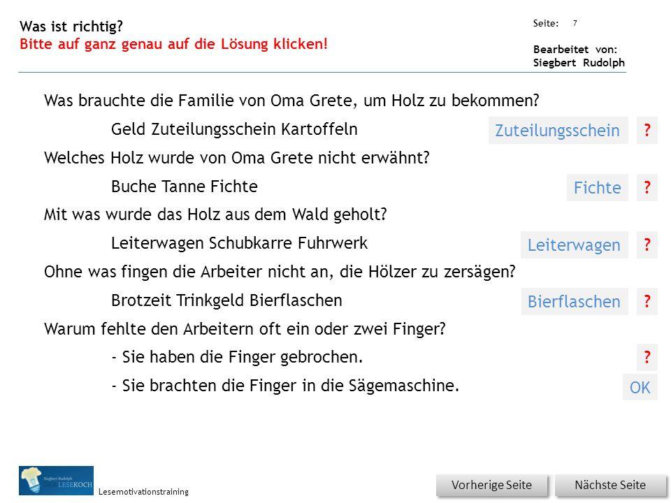 Übungsart: Seite: Bearbeitet von: Siegbert Rudolph Lesemotivationstraining 6 Wortschatz – Was passt zusammen? Bitte auf die Lösung klicken! Nächste Se