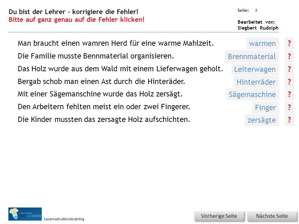 Übungsart: Seite: Bearbeitet von: Siegbert Rudolph Lesemotivationstraining 7 Was ist richtig.