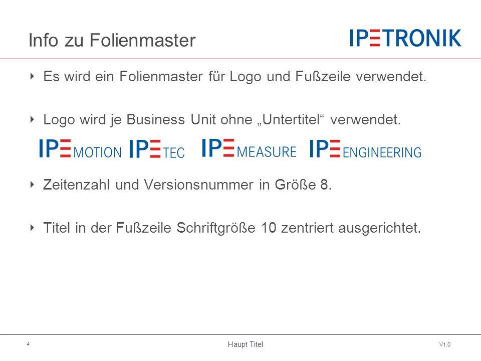 """Haupt Titel V1.0 4 Info zu Folienmaster ‣ Es wird ein Folienmaster für Logo und Fußzeile verwendet. ‣ Logo wird je Business Unit ohne """"Untertitel"""" ver"""
