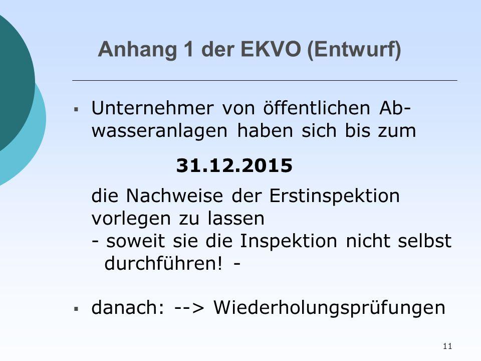 11 Anhang 1 der EKVO (Entwurf)  Unternehmer von öffentlichen Ab- wasseranlagen haben sich bis zum 31.12.2015 die Nachweise der Erstinspektion vorlegen zu lassen - soweit sie die Inspektion nicht selbst durchführen.
