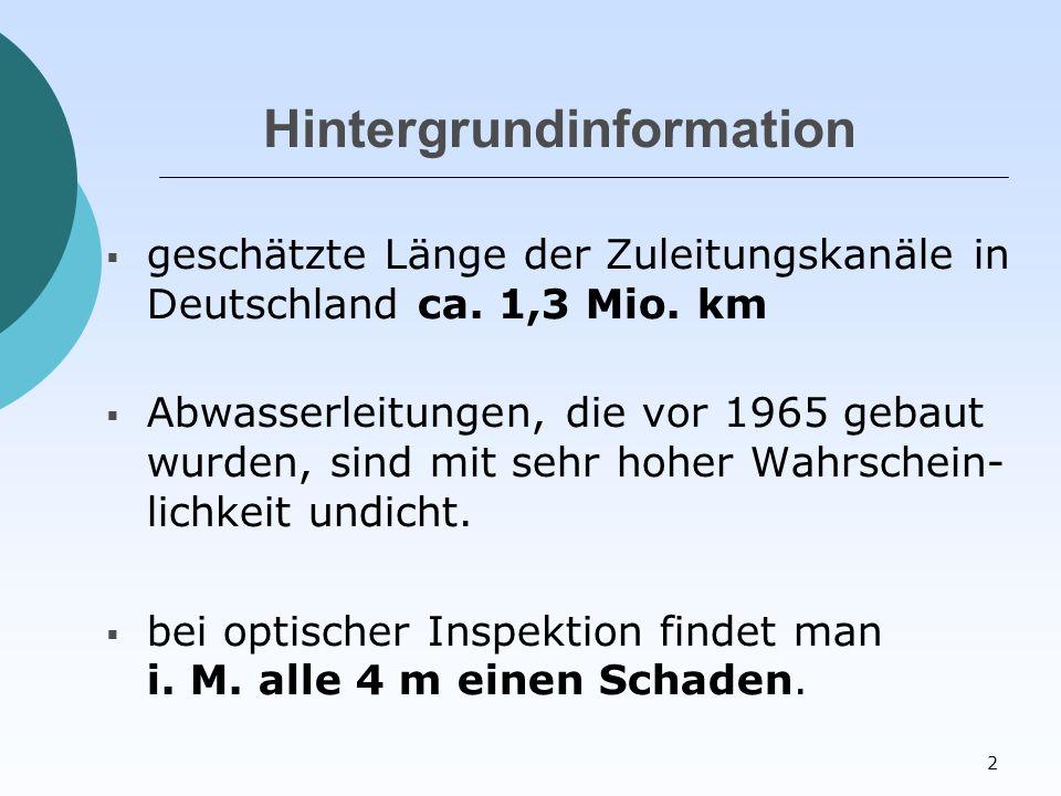 2 Hintergrundinformation  geschätzte Länge der Zuleitungskanäle in Deutschland ca.
