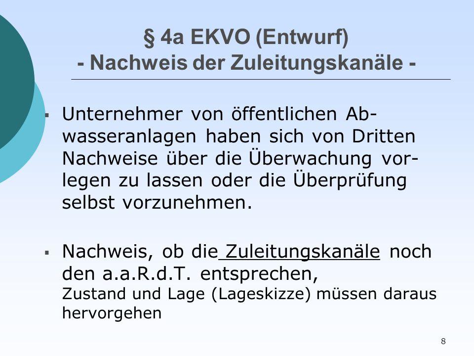 8 § 4a EKVO (Entwurf) - Nachweis der Zuleitungskanäle -  Unternehmer von öffentlichen Ab- wasseranlagen haben sich von Dritten Nachweise über die Überwachung vor- legen zu lassen oder die Überprüfung selbst vorzunehmen.