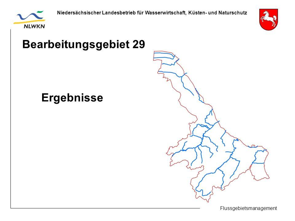 Flussgebietsmanagement Niedersächsischer Landesbetrieb für Wasserwirtschaft, Küsten- und Naturschutz Bearbeitungsgebiet 29 Ergebnisse