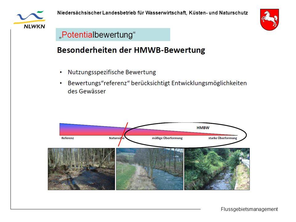"""Flussgebietsmanagement Niedersächsischer Landesbetrieb für Wasserwirtschaft, Küsten- und Naturschutz """"Potentialbewertung"""