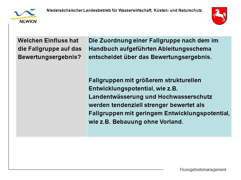 Flussgebietsmanagement Niedersächsischer Landesbetrieb für Wasserwirtschaft, Küsten- und Naturschutz Welchen Einfluss hat die Fallgruppe auf das Bewertungsergebnis.