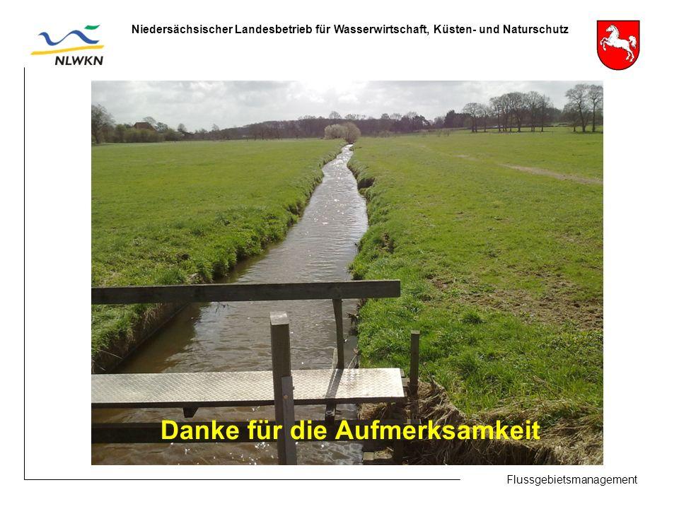 Flussgebietsmanagement Niedersächsischer Landesbetrieb für Wasserwirtschaft, Küsten- und Naturschutz Danke für die Aufmerksamkeit