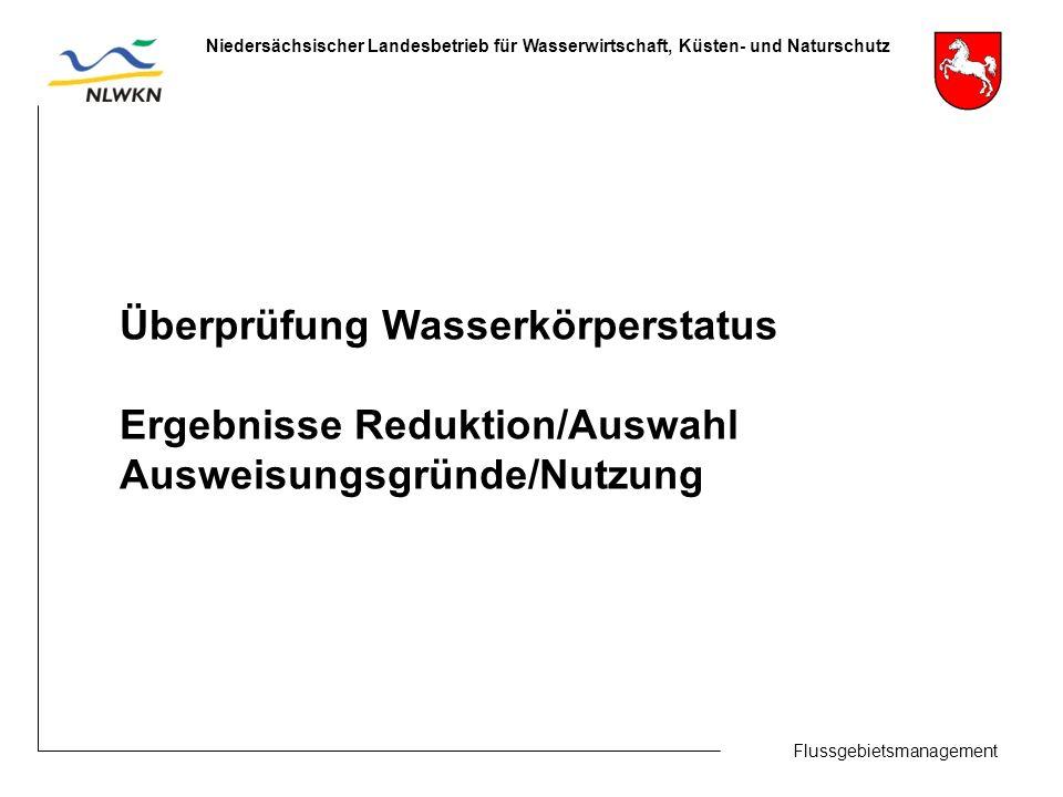 Flussgebietsmanagement Niedersächsischer Landesbetrieb für Wasserwirtschaft, Küsten- und Naturschutz Überprüfung Wasserkörperstatus Ergebnisse Reduktion/Auswahl Ausweisungsgründe/Nutzung