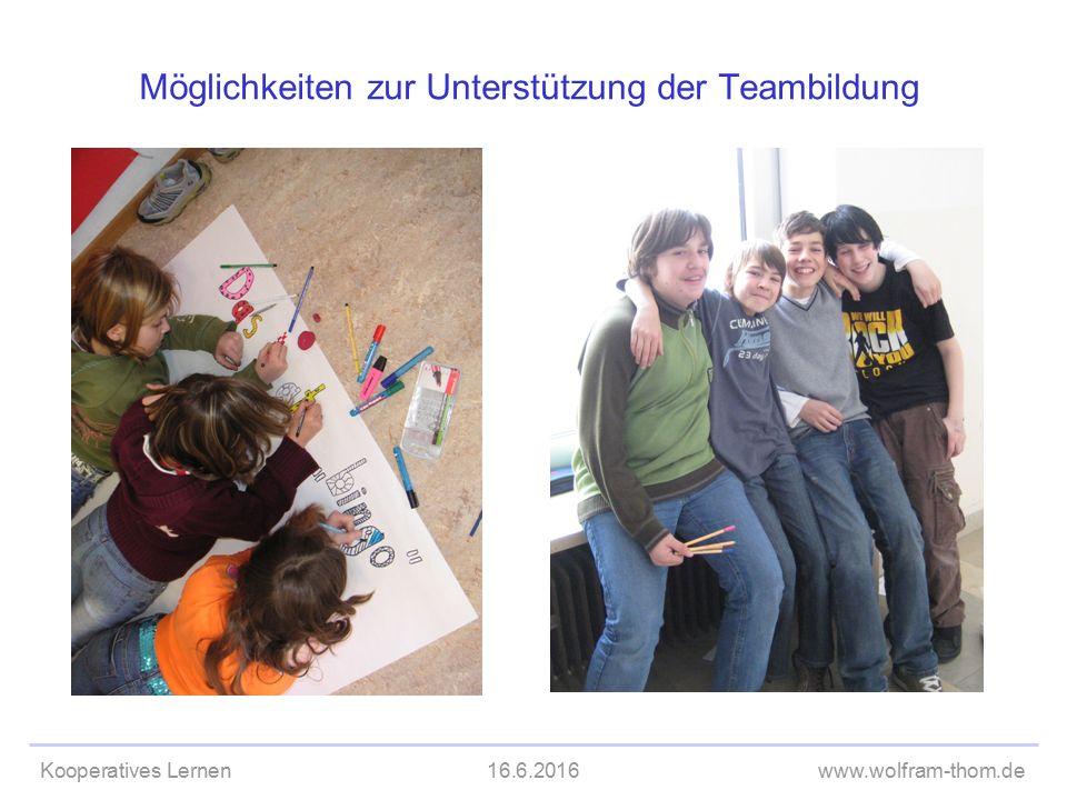 Kooperatives Lernen16.6.2016www.wolfram-thom.de Möglichkeiten zur Unterstützung der Teambildung