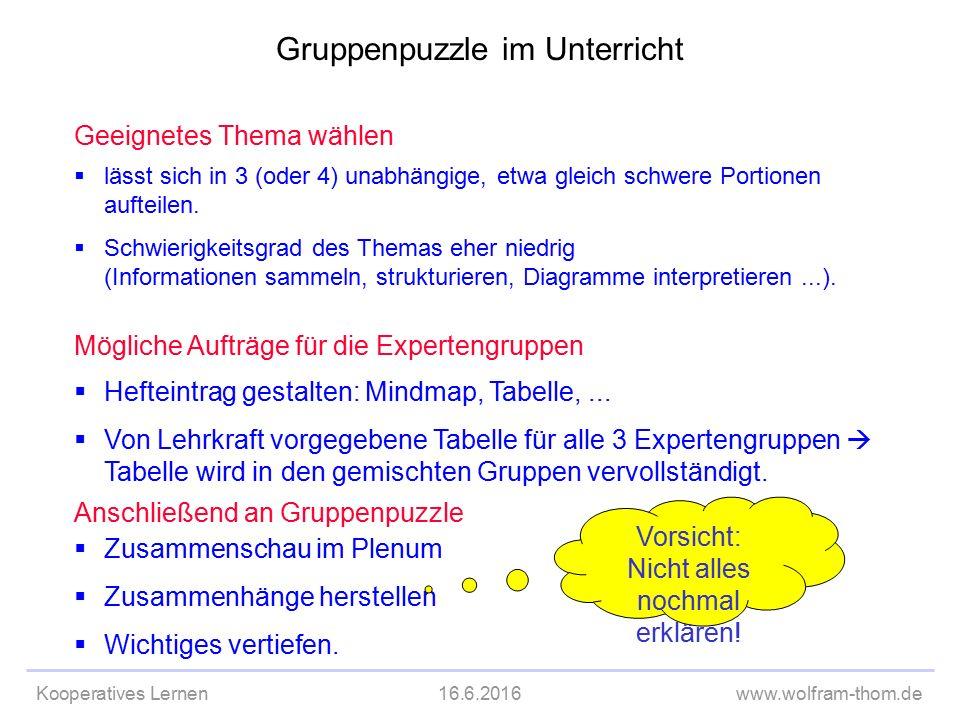 Kooperatives Lernen16.6.2016www.wolfram-thom.de Geeignetes Thema wählen  lässt sich in 3 (oder 4) unabhängige, etwa gleich schwere Portionen aufteilen.