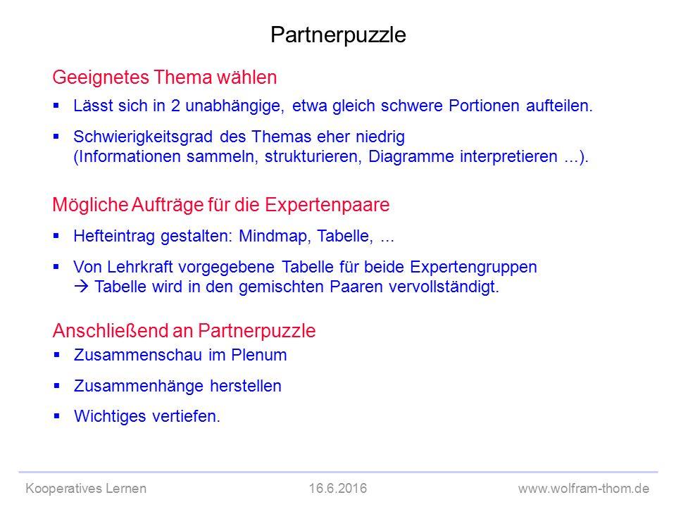 Kooperatives Lernen16.6.2016www.wolfram-thom.de Geeignetes Thema wählen  Lässt sich in 2 unabhängige, etwa gleich schwere Portionen aufteilen.