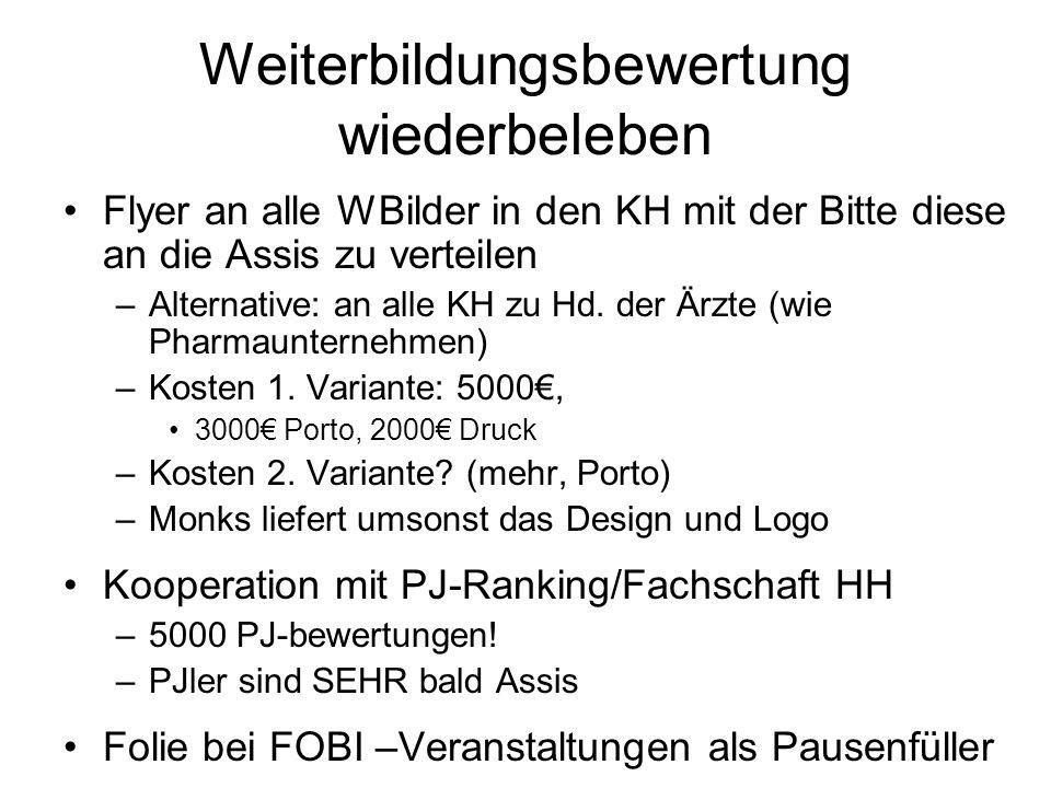 Weiterbildungsbewertung wiederbeleben Flyer an alle WBilder in den KH mit der Bitte diese an die Assis zu verteilen –Alternative: an alle KH zu Hd. de