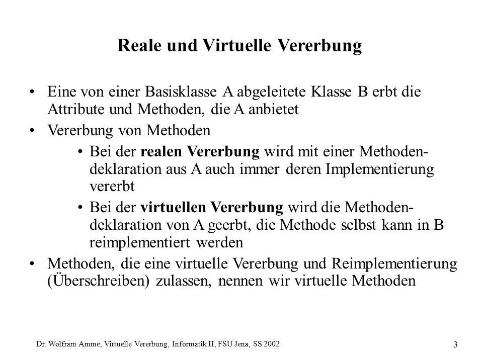 Dr. Wolfram Amme, Virtuelle Vererbung, Informatik II, FSU Jena, SS 2002 3 Reale und Virtuelle Vererbung Eine von einer Basisklasse A abgeleitete Klass