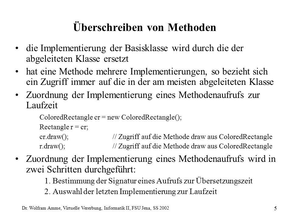 Dr. Wolfram Amme, Virtuelle Vererbung, Informatik II, FSU Jena, SS 2002 5 Überschreiben von Methoden die Implementierung der Basisklasse wird durch di