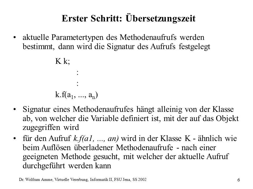 Dr. Wolfram Amme, Virtuelle Vererbung, Informatik II, FSU Jena, SS 2002 6 Erster Schritt: Übersetzungszeit aktuelle Parametertypen des Methodenaufrufs