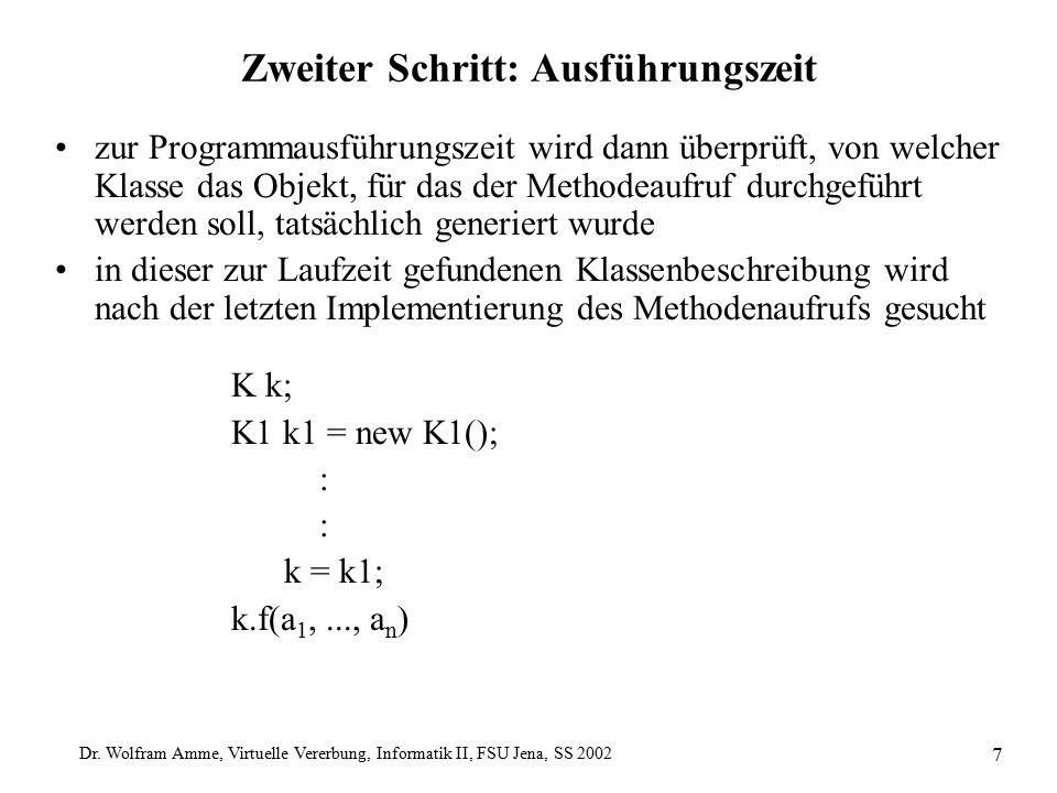 Dr. Wolfram Amme, Virtuelle Vererbung, Informatik II, FSU Jena, SS 2002 7 Zweiter Schritt: Ausführungszeit zur Programmausführungszeit wird dann überp