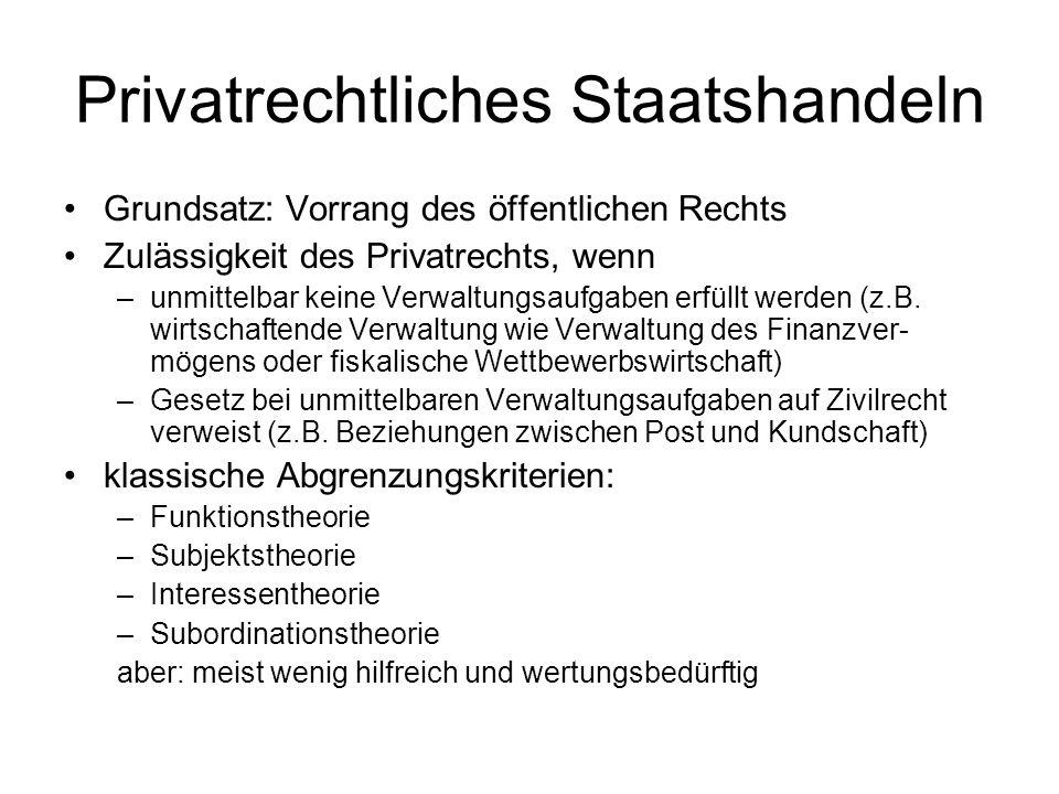 Privatrechtliches Staatshandeln Grundsatz: Vorrang des öffentlichen Rechts Zulässigkeit des Privatrechts, wenn –unmittelbar keine Verwaltungsaufgaben erfüllt werden (z.B.