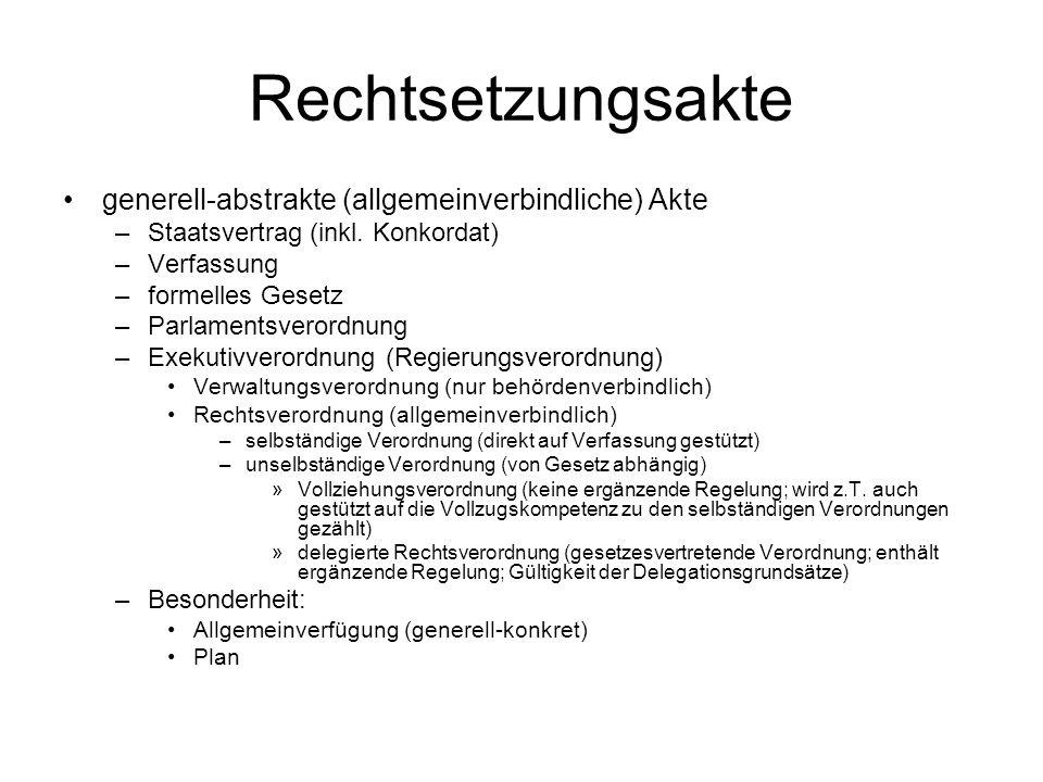 Rechtsetzungsakte generell-abstrakte (allgemeinverbindliche) Akte –Staatsvertrag (inkl.