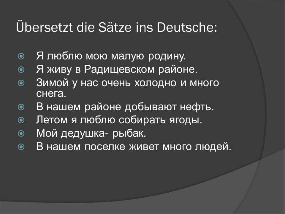 Übersetzt die Sätze ins Deutsche:  Я люблю мою малую родину.