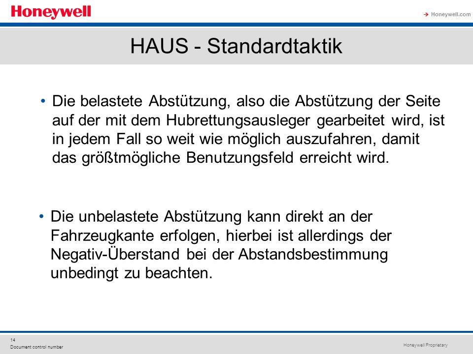 Honeywell Proprietary Honeywell.com  14 Document control number HAUS - Standardtaktik Die belastete Abstützung, also die Abstützung der Seite auf der mit dem Hubrettungsausleger gearbeitet wird, ist in jedem Fall so weit wie möglich auszufahren, damit das größtmögliche Benutzungsfeld erreicht wird.