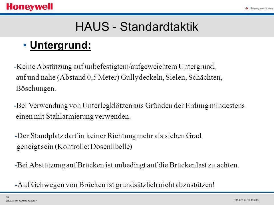 Honeywell Proprietary Honeywell.com  15 Document control number HAUS - Standardtaktik Untergrund: -Auf Gehwegen von Brücken ist grundsätzlich nicht abzustützen.
