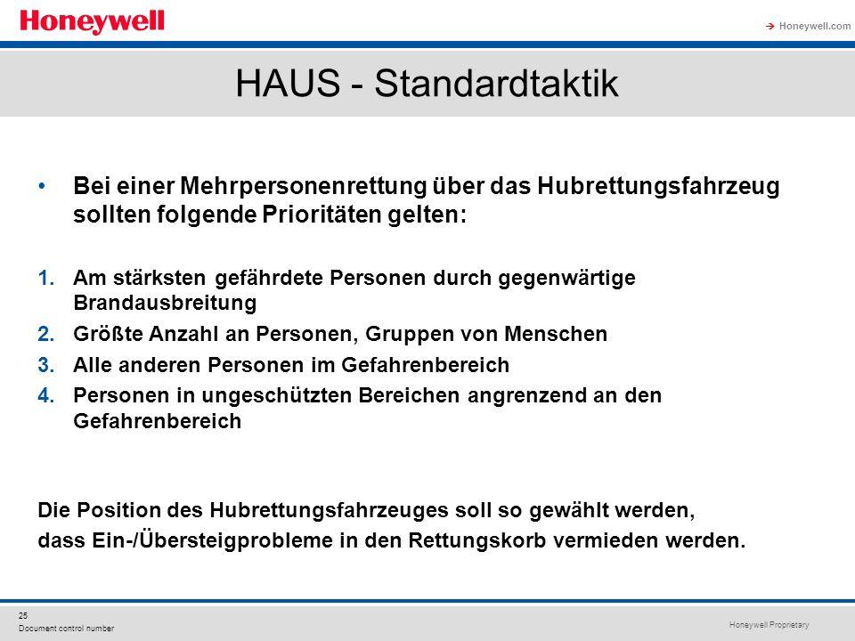 Honeywell Proprietary Honeywell.com  25 Document control number HAUS - Standardtaktik Bei einer Mehrpersonenrettung über das Hubrettungsfahrzeug soll