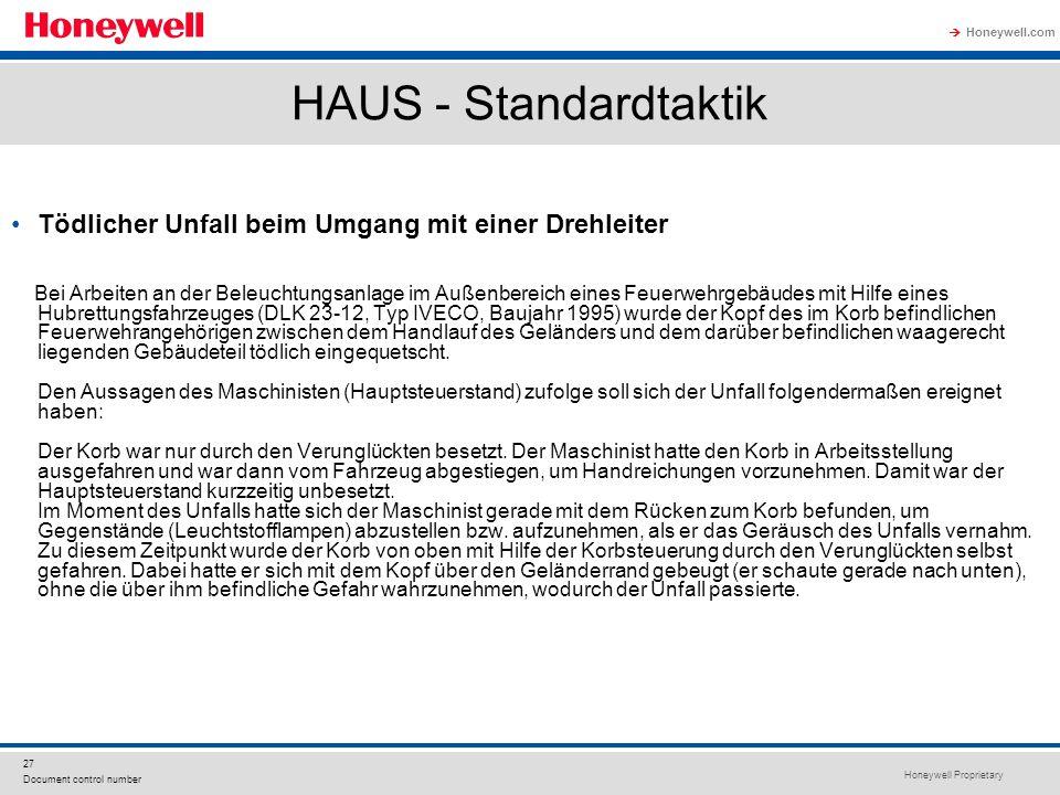 Honeywell Proprietary Honeywell.com  27 Document control number HAUS - Standardtaktik Tödlicher Unfall beim Umgang mit einer Drehleiter Bei Arbeiten
