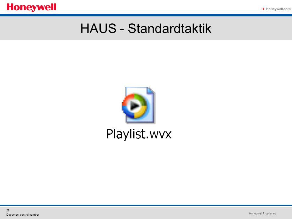 Honeywell Proprietary Honeywell.com  29 Document control number HAUS - Standardtaktik