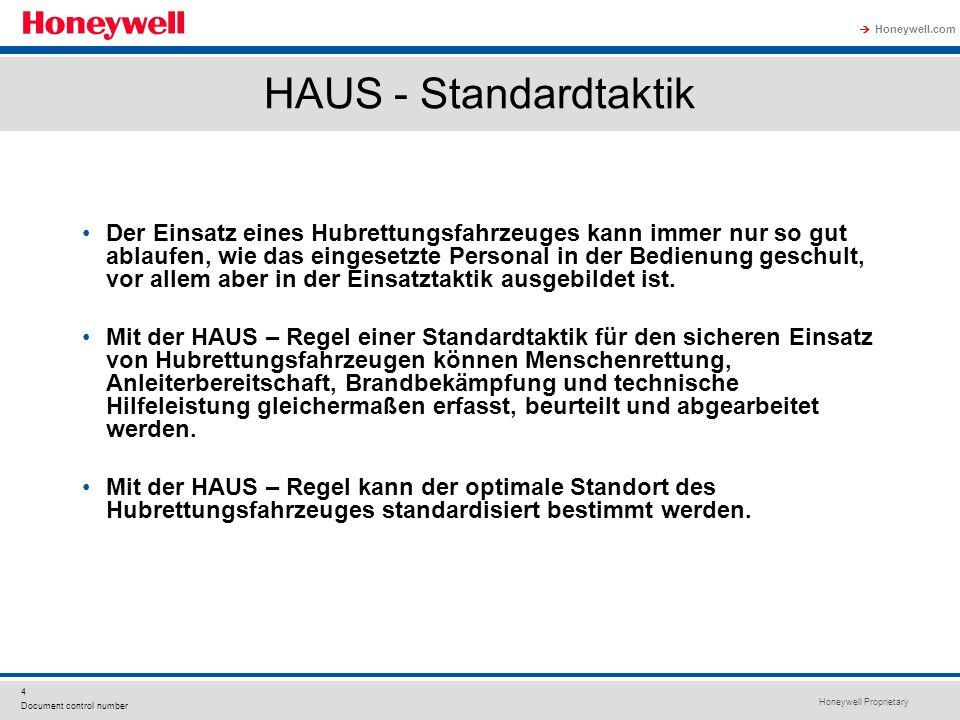 Honeywell Proprietary Honeywell.com  4 Document control number HAUS - Standardtaktik Der Einsatz eines Hubrettungsfahrzeuges kann immer nur so gut ab