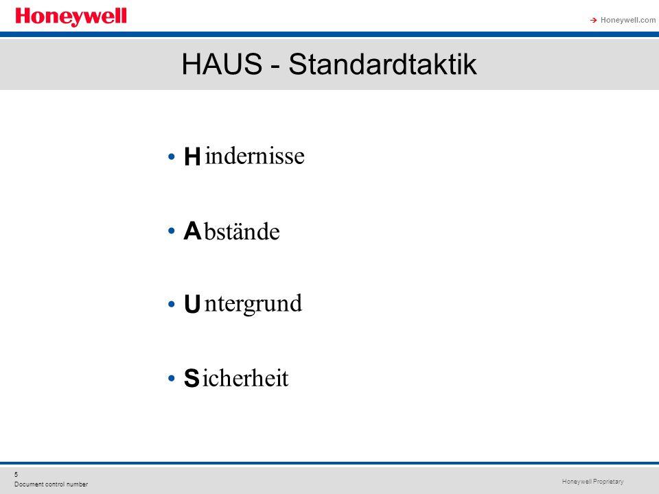 Honeywell Proprietary Honeywell.com  5 Document control number HAUS - Standardtaktik H A U S indernisse bstände ntergrund icherheit