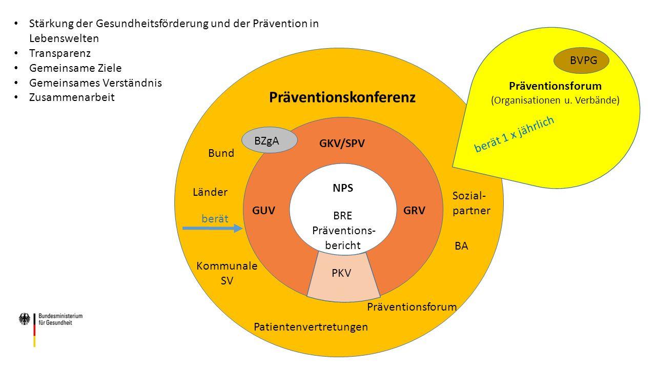 GKV/SPV GUVGRV PKV NPS BRE Präventions- bericht Präventionskonferenz Bund Länder Kommunale SV Sozial- partner Patientenvertretungen BA BZgA Präventionsforum (Organisationen u.