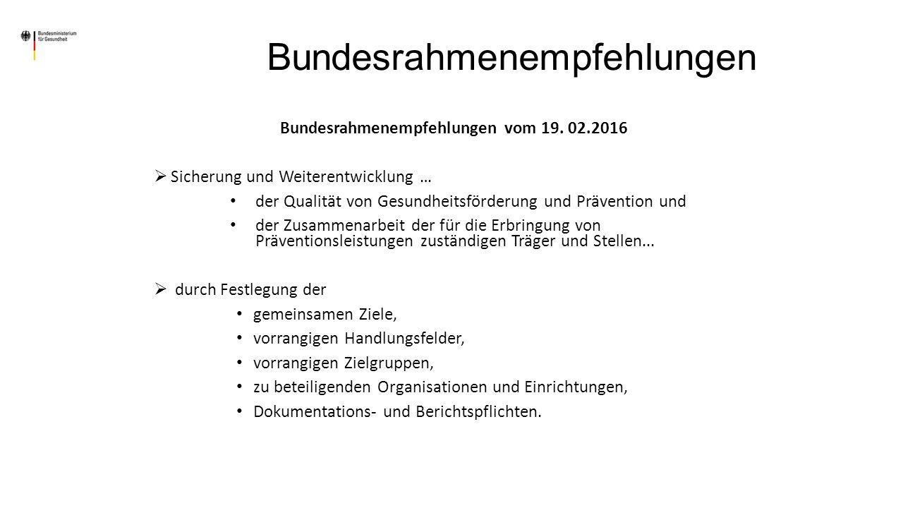 Bundesrahmenempfehlungen vom 19.