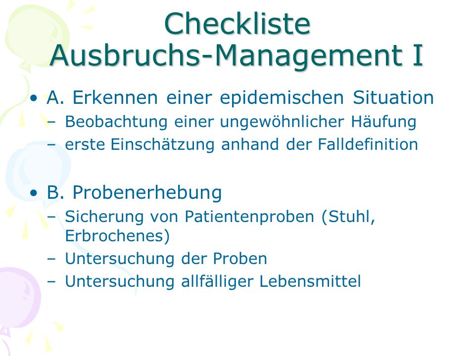 Checkliste Ausbruchs-Management I A.