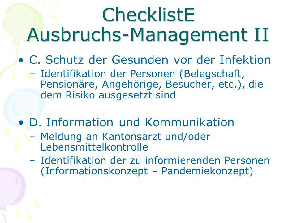 Checkliste Ausbruchs-Management III E.Empfohlene Massnahmen –1.