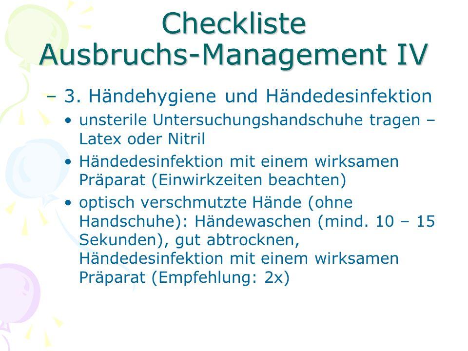 Checkliste Ausbruchs-Management V –4.