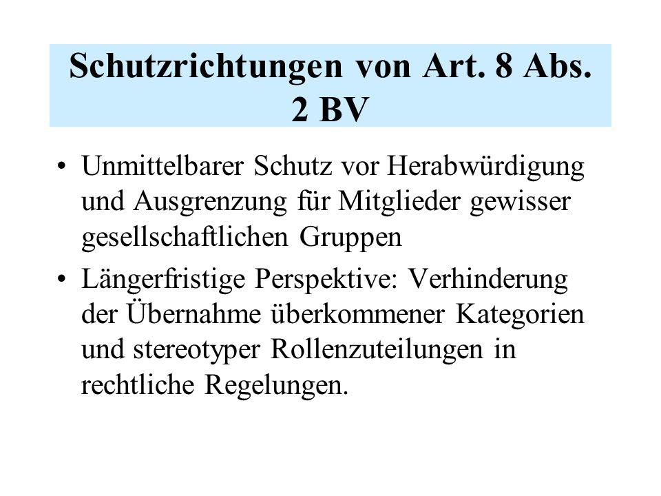 Schutzrichtungen von Art. 8 Abs.