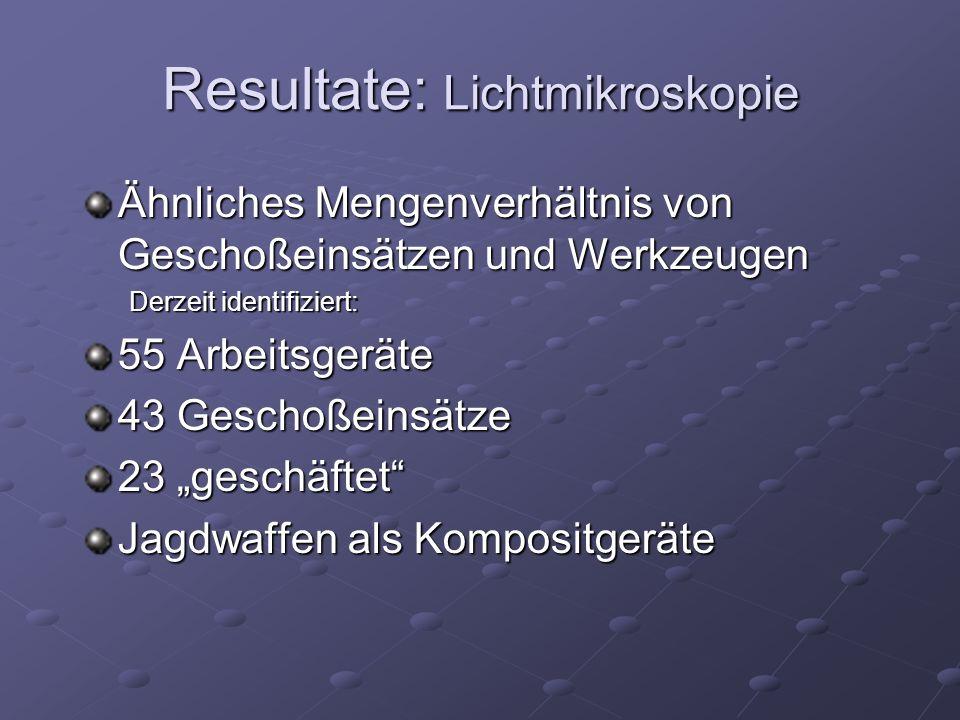 """Ähnliches Mengenverhältnis von Geschoßeinsätzen und Werkzeugen Derzeit identifiziert: 55 Arbeitsgeräte 43 Geschoßeinsätze 23 """"geschäftet"""" Jagdwaffen a"""